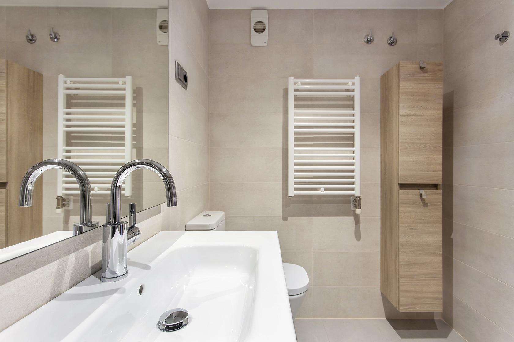 Armario, pica y toallero del baño