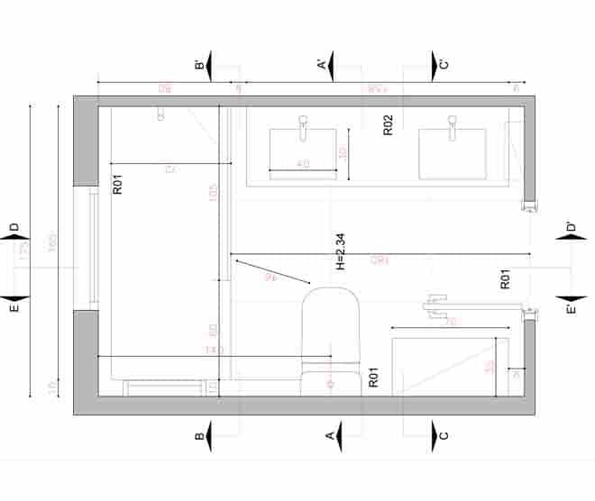 Plano reforma baño integral sants - Montjuïc