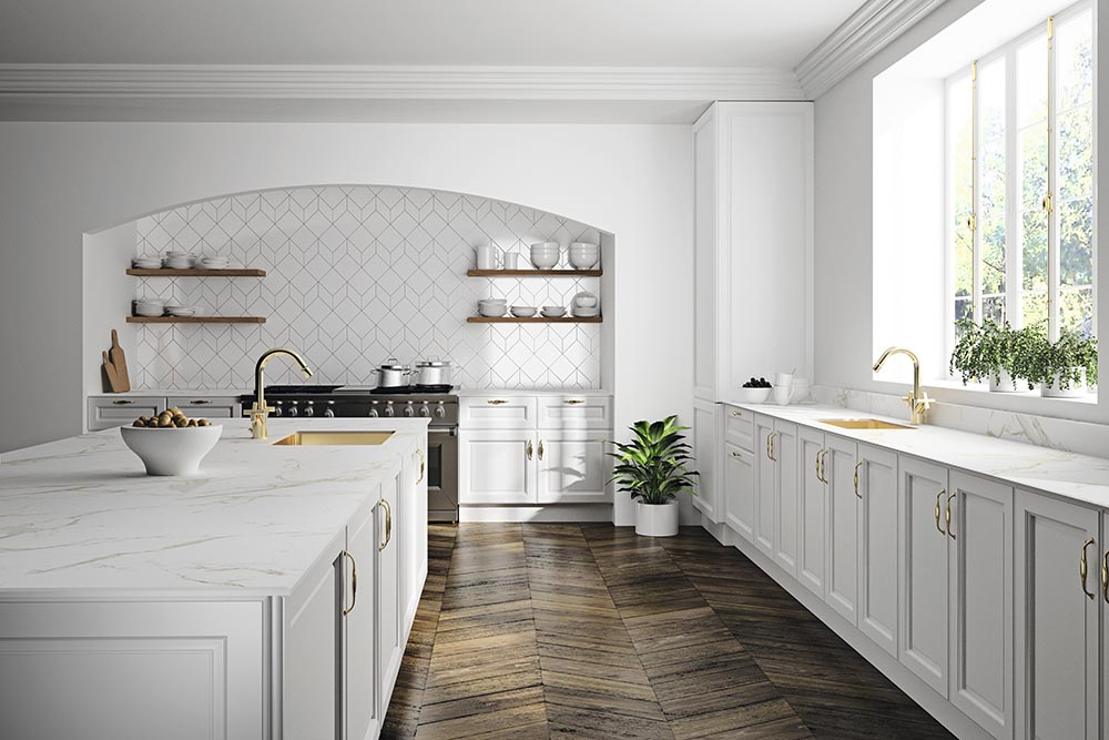 cocina blanca con arco