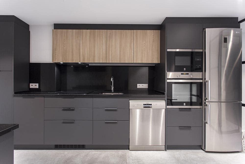 cocina completa en gris