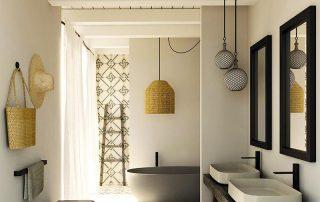 baño de ceramica y mimbre