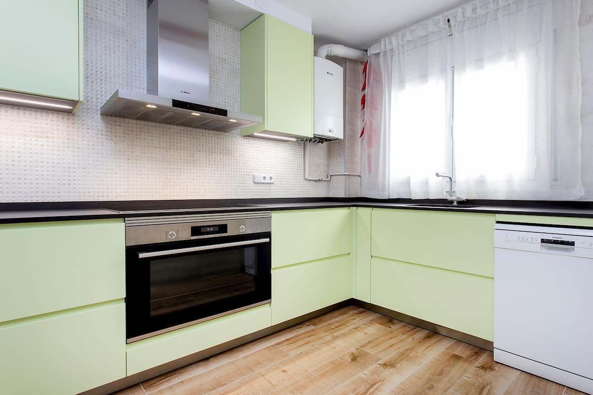 cocina reformada verde