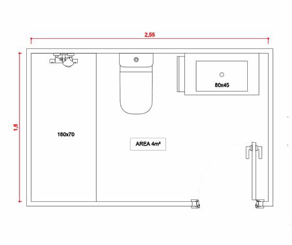 Plano distribución baño contemporáneo básico