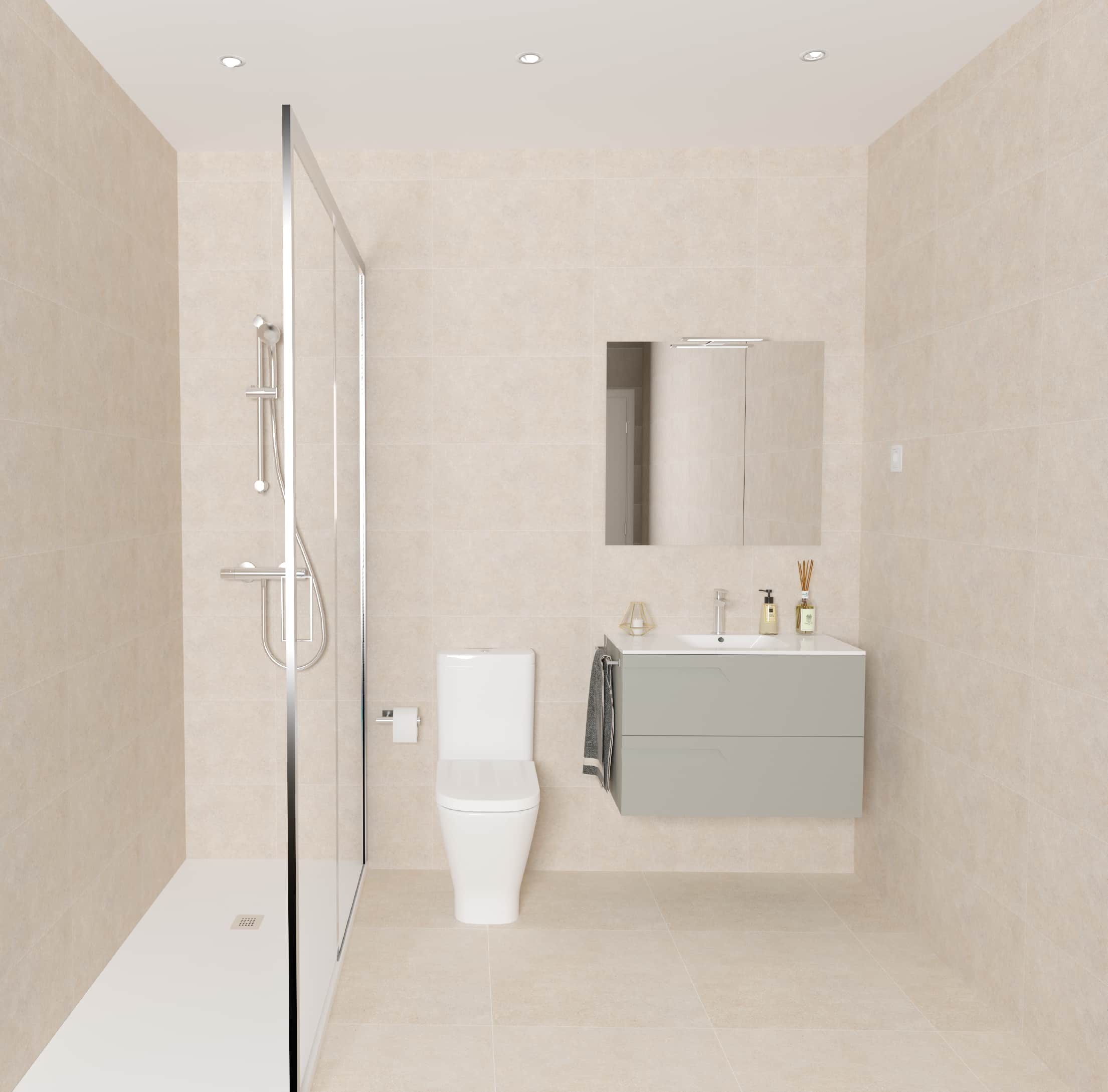 Baño contemporáneo básico beige